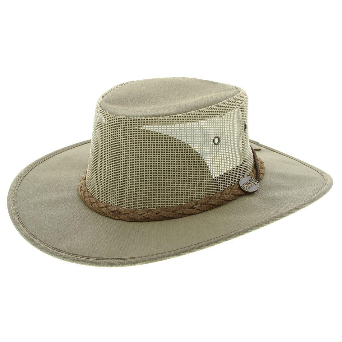 Barmah 1057 KH Khaki Canvas Drover Airflow Hat  0e1c3c9d9c44
